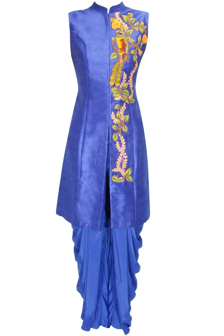 Blue bird embroidered long achkan jacket with blue dhoti pants available only at…