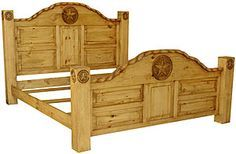 This very affordable, solid pine bed will become the focal point of your bedroom. On this bed there are four hand-carved posts where you can hang your hat, a robe, or your lasso! The unique carved rope edge and matching stars on both the posts and the paneled boards offer a natural wood style that goes well with rustic and southwestern decors. Youll appreciate the sturdy construction of this piece of handmade Mexican furniture. $966.00 - $1,114.00