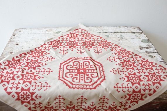 Scandinavian Pillow Case Tan and Red Bohemian by whiskyginger