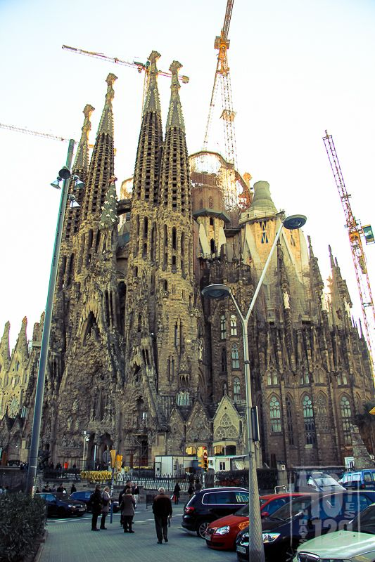 Street view of the Sagrada Familia, Barcelona - Spain