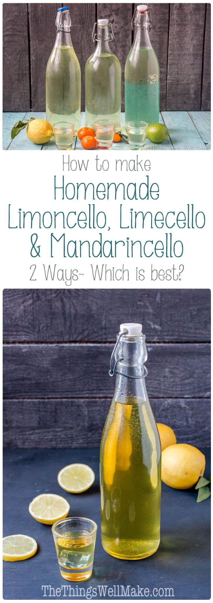 There are several ways to make a homemade limoncello, limecello, or mandarinecello. I put several methods to the taste test. Which do you think won?