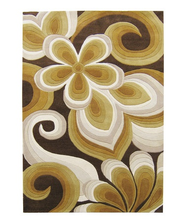 Take a look at this Dark Chocolate & Tan Floral Sabrina Rug by Horizon Home Rugs on #zulily today!
