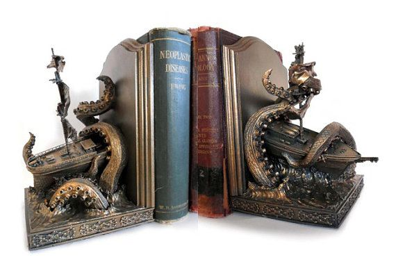 Great bookends from Etsy https://www.etsy.com/listing/161345662/kraken-bookends-limited-edition