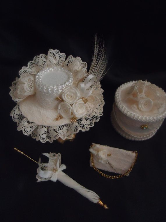 Luxury hat purse parasol and hatbox 1/12th door LittleDayDreamStore