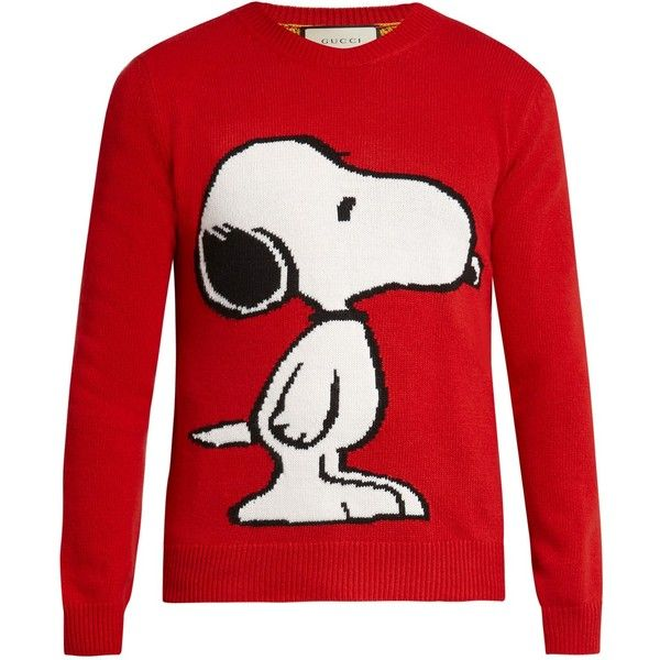 Gucci Snoopy intarsia wool crew-neck sweater ($980) ❤ liked on Polyvore featuring men's fashion, men's clothing, men's sweaters, mens wool sweaters, mens woolen sweaters, men's wool crew neck sweaters, mens crewneck sweaters and mens crew neck sweaters