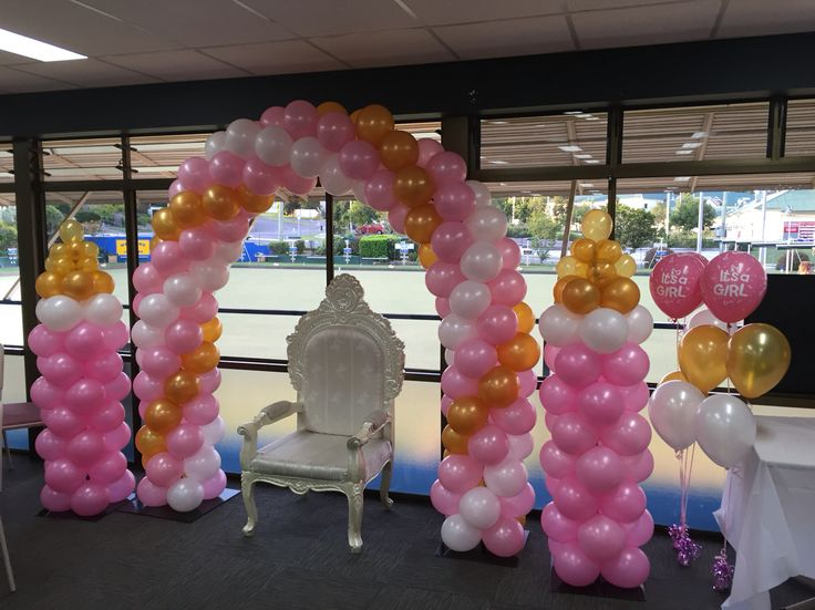 It 39 s a girl baby shower balloon decor balloon arch for Balloon art for baby shower