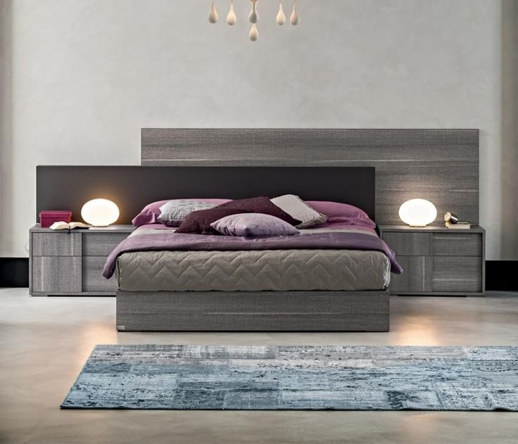 Contemporary Bed With A Headboard In Grey Saw Marked Oak Effect Textured  Finish, 4 Sizes Available, Optional Padded Headboard Panel And Bedside  Cabinets
