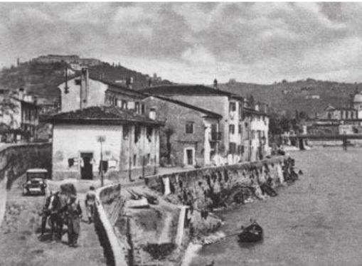 Verona - a Borgo Trento la riva del futuro lungadige Matteotti nei primi anni del 1900.
