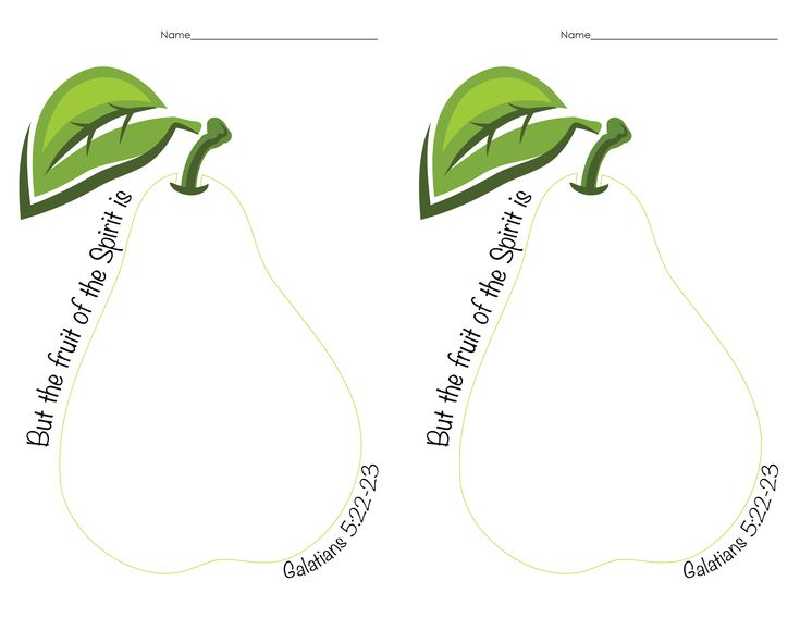 """Fruits of the Spirit Craft Pear Outline. See """"fruits of spirit strips"""" to print out and cut apart for children to put together."""