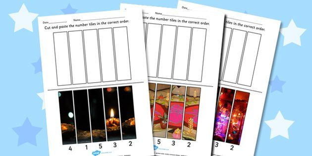 Diwali Photo Number Sequencing Puzzles - sequence, numbers, RE - twinkl
