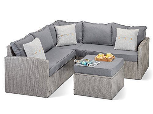 Calabria Grey Rattan Corner Sofa With Luxurious Thick Grey Cushions Grey Rattan Footstool And Glass Beautiful Designer Grey Ratt