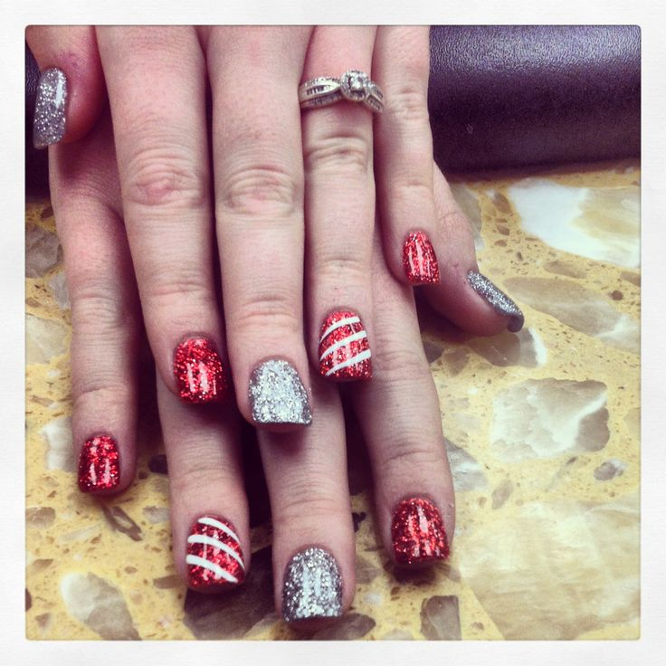 Glitter Candy Cane Nails For Christmas :)
