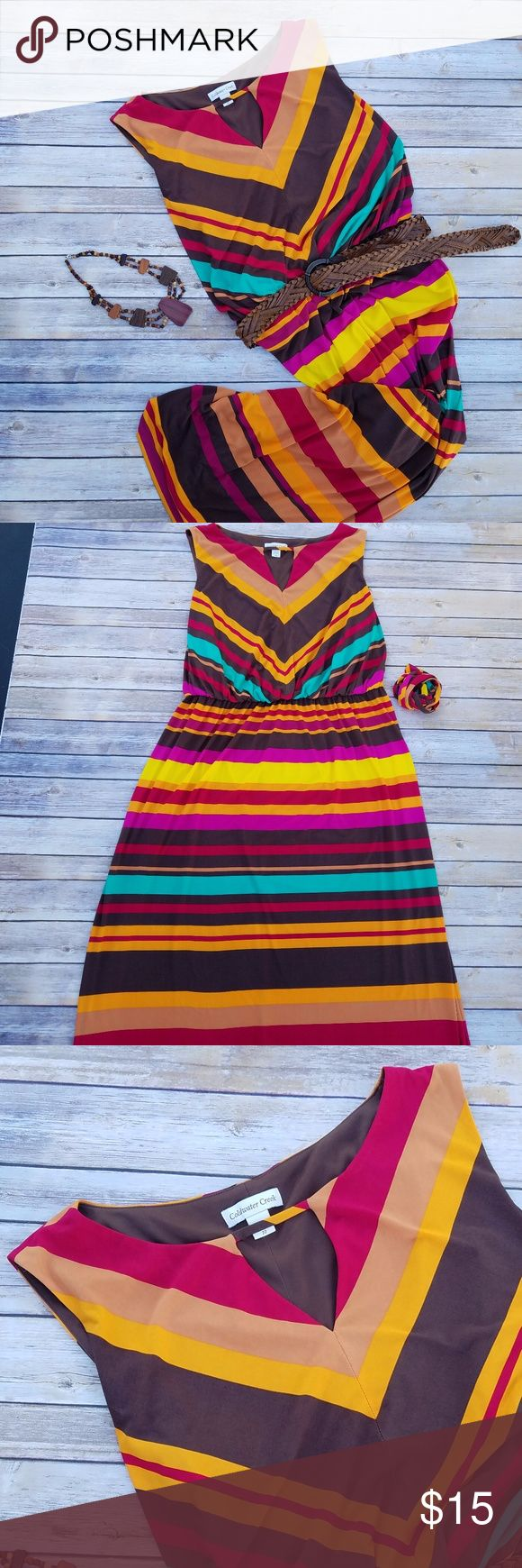 Coldwater Creek Multi-Colored Stripped Maxi Dress Coldwater Creek multi-colored horizontal striped sleeveless maxi dress w/chest cut-out, elastic waistband, brown lining, & matching fabric belt.  Size: 22 Material: 95% polyester & 5% spandex, shell & 100% polyester, lining  Measurements [Approximately]: Strap width: 2.75 in Chest width: 28 3/8 in, loose & 30 3/8 in, stretched Waistband width: 21 in, loose & 31.5 in, stretched Top of shoulder to hem: 80 in Top of shoulder to waistband: 19 in…