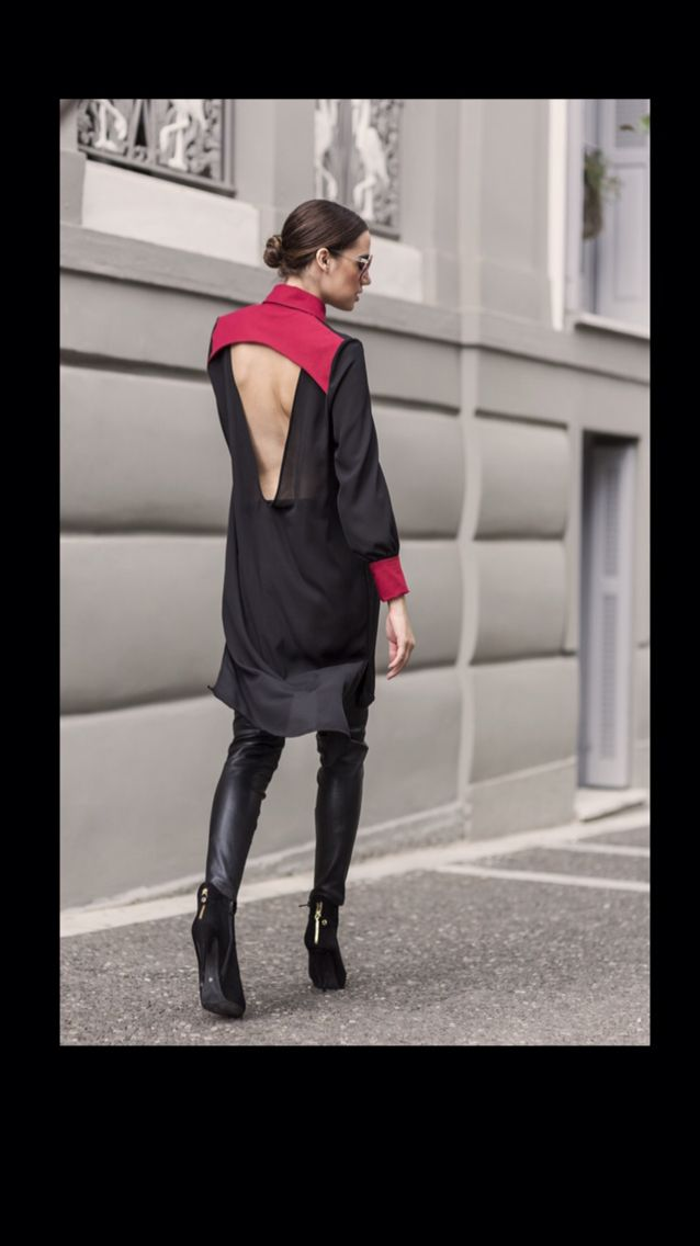 """Open-back chemise with burgundy details from H-ēra FW15/16 """"Urban Souls"""" Collection Street photoshooting More @ www.h-era.com"""
