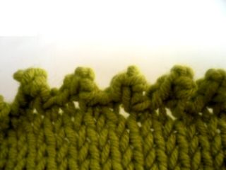 "Knitting article which gives directions for several decorative or ""different"" cast offs--- ""my favorite being the picot edge!"""