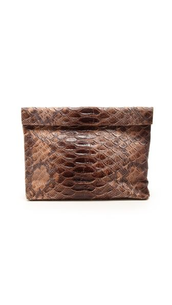Marie Turnor Accessories The Snake Embossed Lunch Clutch - Brown by: Marie Turnor Accessories @Shopbop