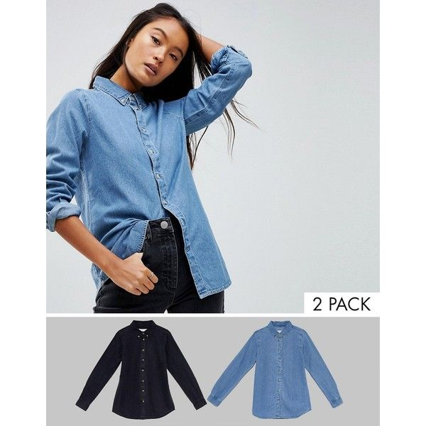 ASOS Denim Shirt in Washed Black and Midwash Blue 2 PACK ($52) ❤ liked on Polyvore featuring tops, multi, blue long sleeve shirt, asos, blue long sleeve top, long sleeve party tops and going out shirts