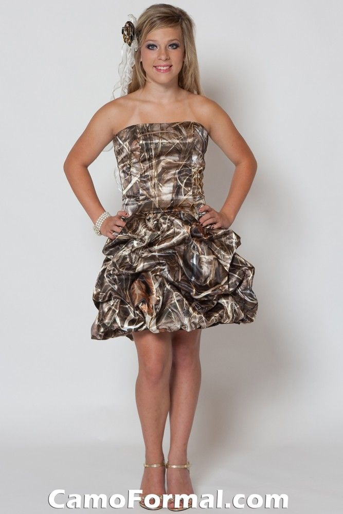 Short pink camo wedding dresses oak new breakup for Mossy oak camo wedding dress