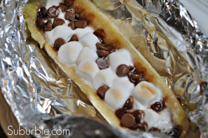 Banana Boat Dessert - you can make these on the campfire or in the oven.