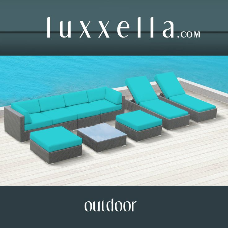 Luxxella Outdoor Patio Wicker BELLA 9 Pc Turquoise Sofa Sectional Furniture All Weather Couch Set Rattan Furniture #Rattanfurniture #PatioFurniture #WickerFurniture #OutdoorFurniture