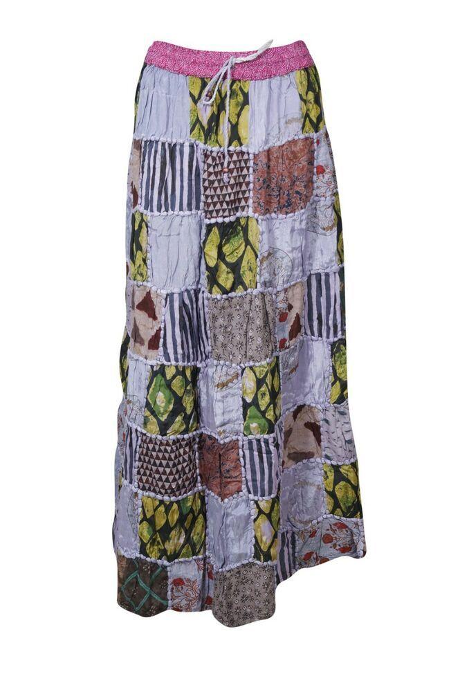 cb91d2e6d Boho Hippie Gypsy Long Skirt Violet Patchwork Handmade Rayon Maxi Skirts  S/M #MogulInterior #ALine