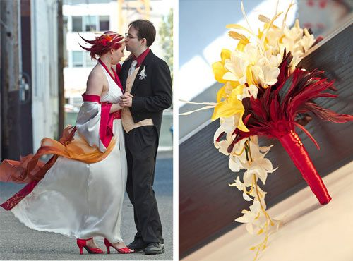 Alicia & Cody's fiery dragon and phoenix art gallery wedding   Offbeat Bride