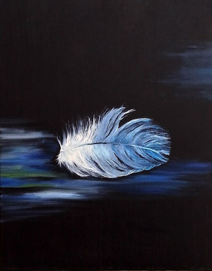 Feather in blue. Oil on canvas. Size : 50 x 40 cm