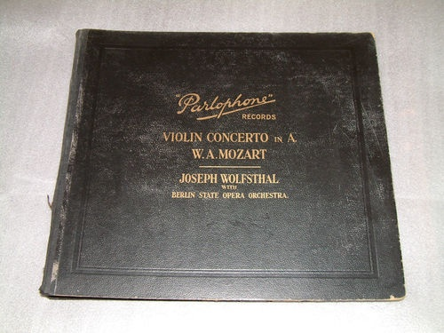 "Set 4 x 12"" 78 RPM Records MOZART VIOLIN CONCERTO in A Wolfsthal BSOO Parlophone 