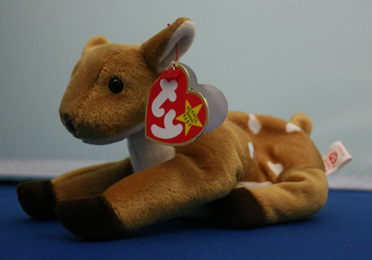 Vintage Whisper the Fawn Beanie Baby with 1 error, by the Ty company by CuriosandAntiques on Etsy