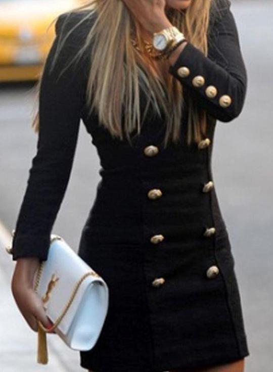 V-Ausschnitt Frauen Zweireiher Mid-Waist Blazer Kleider