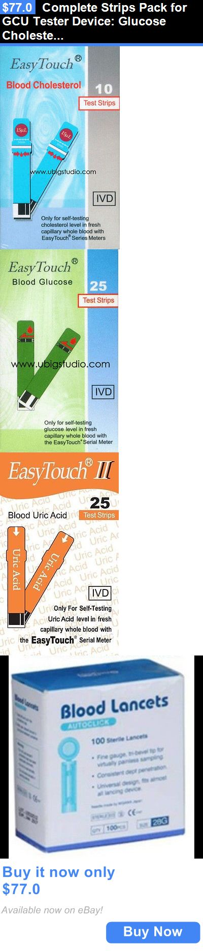 Cholesterol Testing: Complete Strips Pack For Gcu Tester Device: Glucose Cholesterol Uric Acid Lancet BUY IT NOW ONLY: $77.0