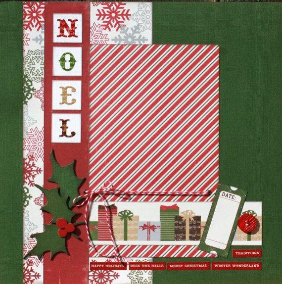 Premade Scrapbook Page 12 x 12 Christmas Layout - Noel. $10.49, via Etsy.