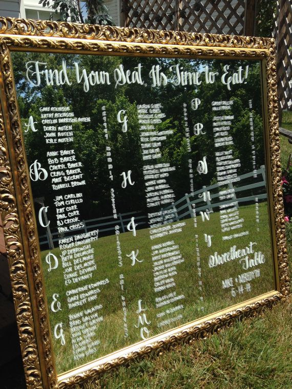 Love this romantic, vintage Seating plan idea. Hand Drawn Calligraphy Wedding seating chart Mirror by CoastalCalligraphy