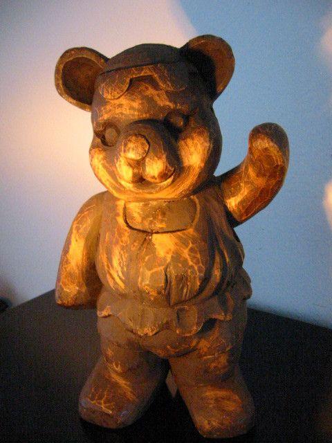 Folk art modernist wood carving ballerina teddy bear