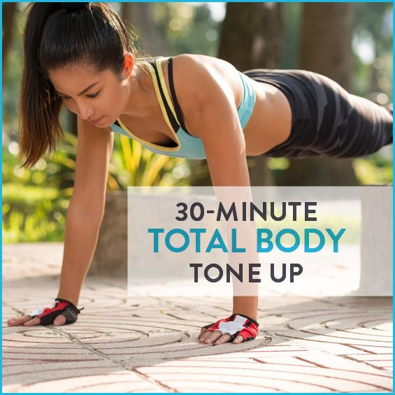 Get fit with this 30 minute total body workout--no equipment necessary.
