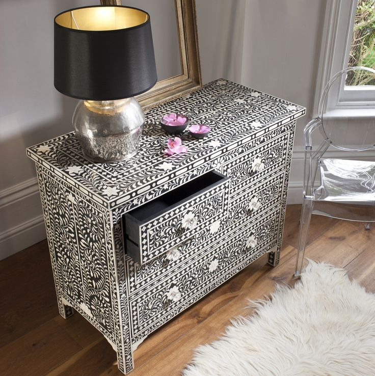 The Pichola Bone Inlay Chest Of Drawers In Black