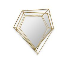 Inspired by asymmetrical and dazzling shapes of a Diamond rock, this mirror is the ultimate combination of geometry and design. The use of gold enhances the luxurious element within this object resulting in a sophisticated yet, dynamic piece that stands out in any ambiance. A true revolution on mid-century modern design.