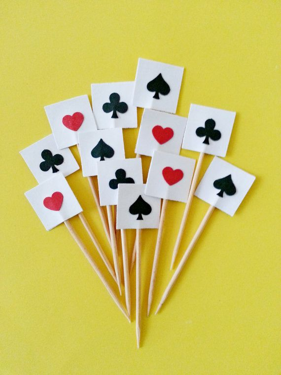 12 Casino Poker Cards Party Picks  / Cupcake Toppers by naissance, $1.95