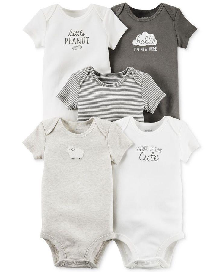 Carter's Baby Girls' or Baby Boys' 5-Pack Short-Sleeve Bodysuits