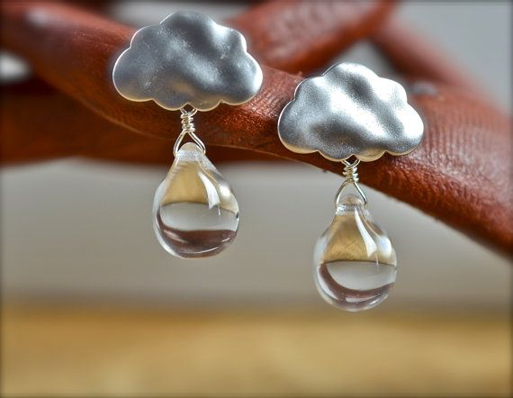 Raindrop Cloud Matte Silver Cloud with Clear by SUNnMOONcafe, $18.50