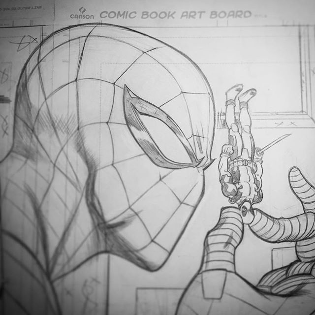 Spider-Man by Ed McGuinness  #AmazingSpiderman holding a #90s #Deadpool #toy…
