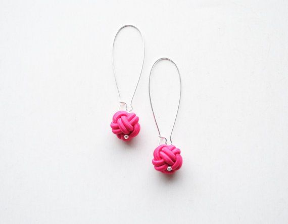 Chinese button knot earrings hot pink earrings by elfinadesign