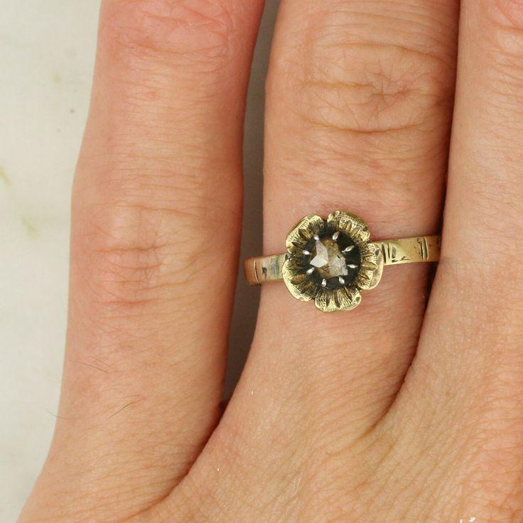 Georgian Gold Rose Cut Diamond Flower Engagement Ring
