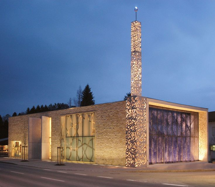 Exterior night-time view of the Islamic Forum of Penzberg, Germany. Built in 2005 and designed by Alen Jasarevic.