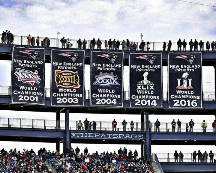 The FIVE Super Bowl banners at Gillette Stadium!! Proud of the Patriots!!