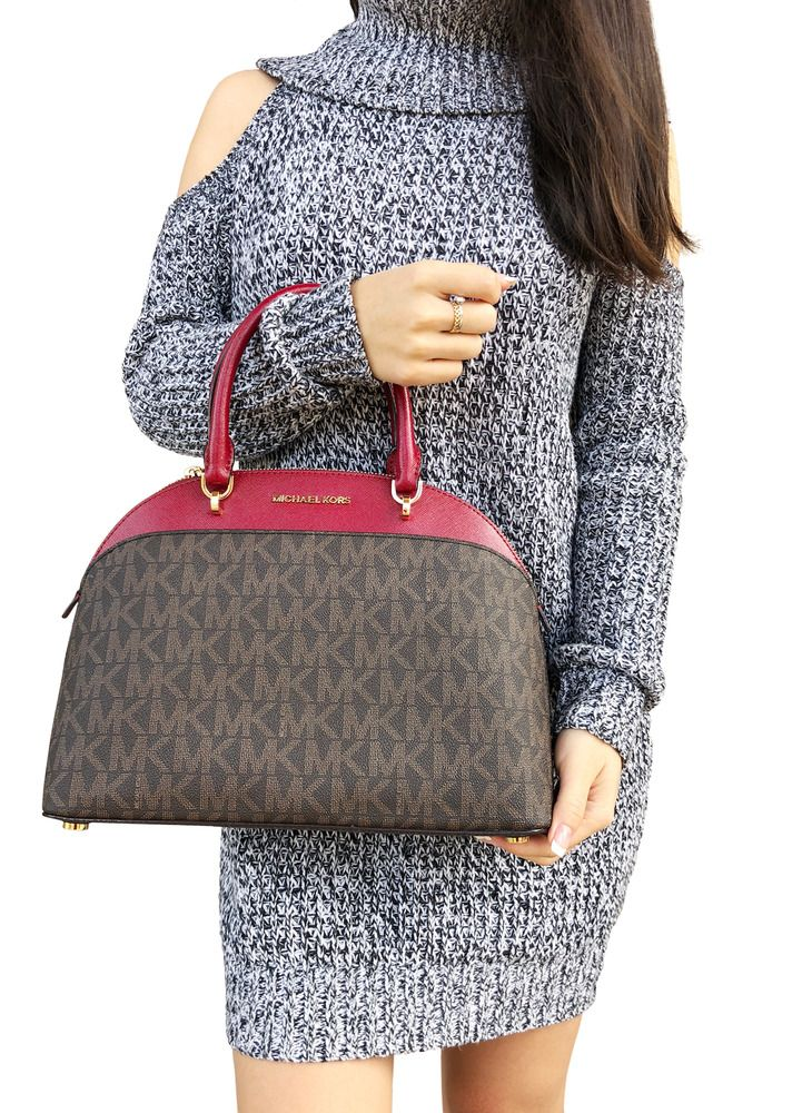 4953eb1ab5a6 Michael Kors Emmy Large Cindy Dome Satchel Crossbody Brown MK Cherry Red # MichaelKors #Satchel