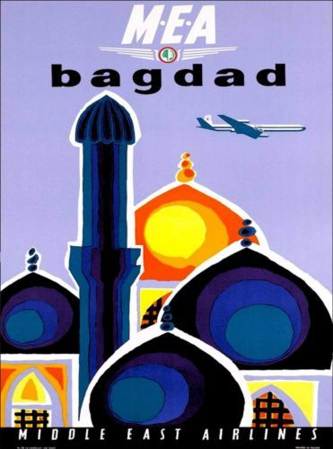 Baghdad-Iraq-Middle-East-Airlines-Vintage-Airline-Travel-Advertisement-Poster