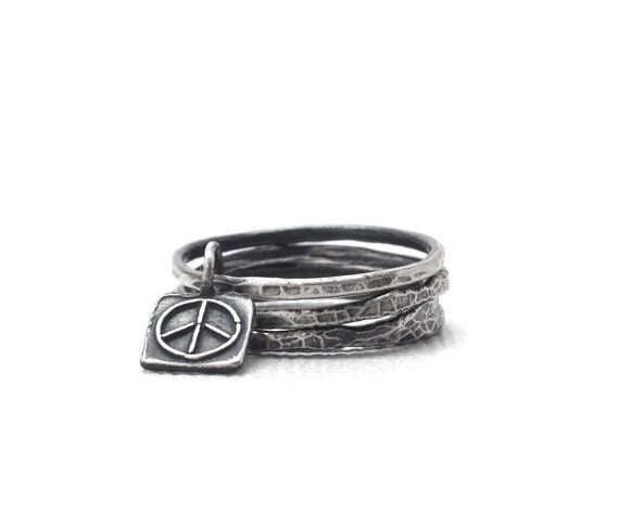 Stacking Rings Sterling Silver Peace Sign by GirlBurkeStudios, $36.00