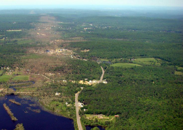 File:Aerial view path of destruction by 2011 tornado; Western MA ...