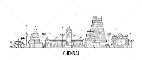 Chennai Skyline Tamil Nadu India City Vector Line Ad Tamil Aff